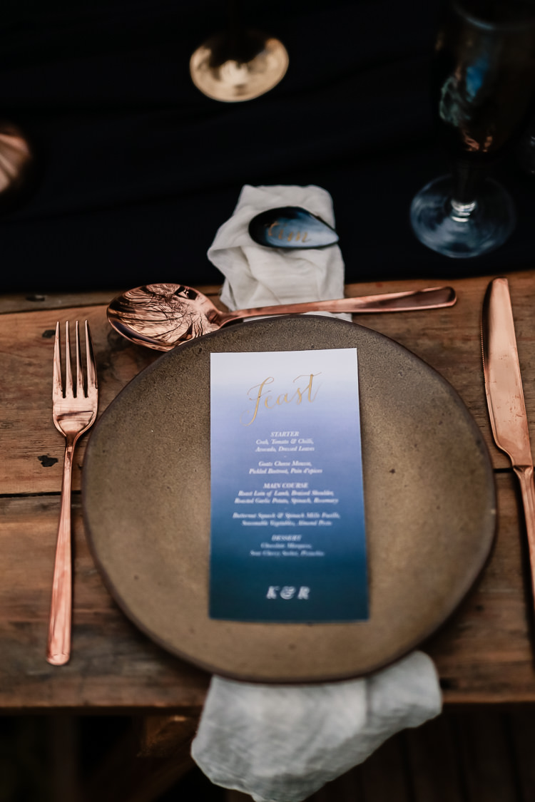 Watercolour Stationery Invites Invitations Calligraphy Menu Magical Fairy Lit Blue Gold Winter Wedding Ideas https://sarahbrookesphotography.com/