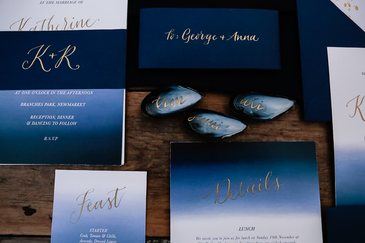 Watercolour Stationery Invites Invitations Calligraphy Magical Fairy Lit Blue Gold Winter Wedding Ideas https://sarahbrookesphotography.com/