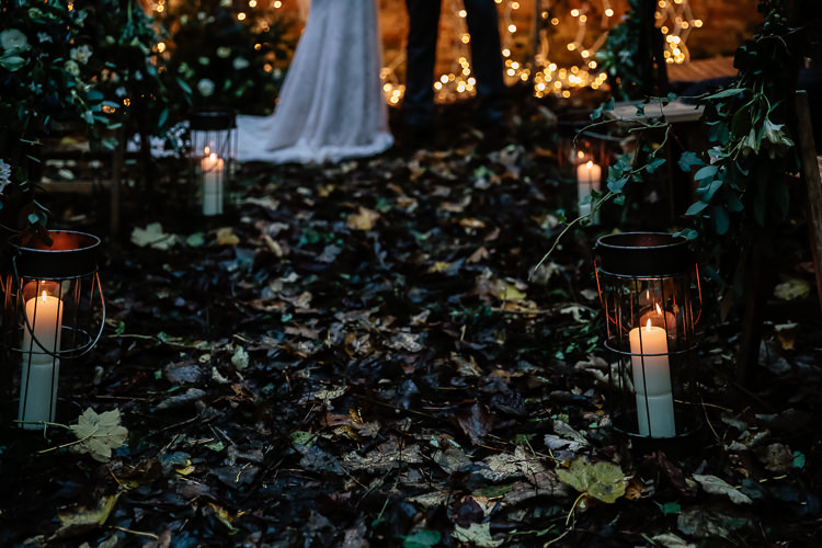 Candles Aisle Magical Fairy Lit Blue Gold Winter Wedding Ideas https://sarahbrookesphotography.com/
