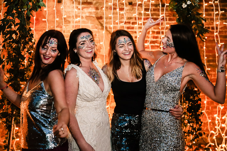 Glitter Bar Make Up Beauty Magical Fairy Lit Blue Gold Winter Wedding Ideas https://sarahbrookesphotography.com/