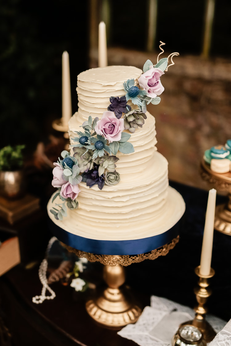 Rustic Buttercream Cake Flowers Magical Fairy Lit Blue Gold Winter Wedding Ideas https://sarahbrookesphotography.com/