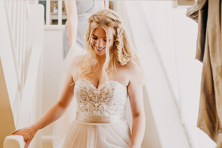 Bride Blonde Hair Down Sweetheart Pink Blush Dress Lace Tulle | Rustic Relaxed Cornflower Blue Barn Wedding http://www.peterhugophotography.com/
