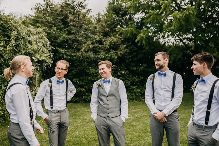 Groom Groomsmen Bowties Braces Suspenders Grey Suits Informal | Rustic Relaxed Cornflower Blue Barn Wedding http://www.peterhugophotography.com/