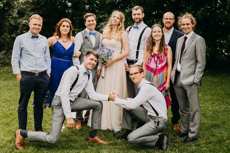 Bridal Bride Groom Family Group Photo Informal Fun Outdoors | Rustic Relaxed Cornflower Blue Barn Wedding http://www.peterhugophotography.com/