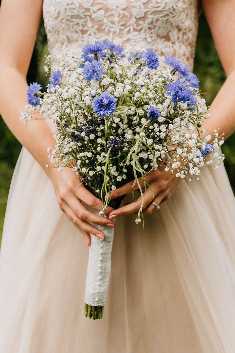 Bridal Bouquet Gypsophila Lavender Purple Colorful Wild Natural English | Rustic Relaxed Cornflower Blue Barn Wedding http://www.peterhugophotography.com/
