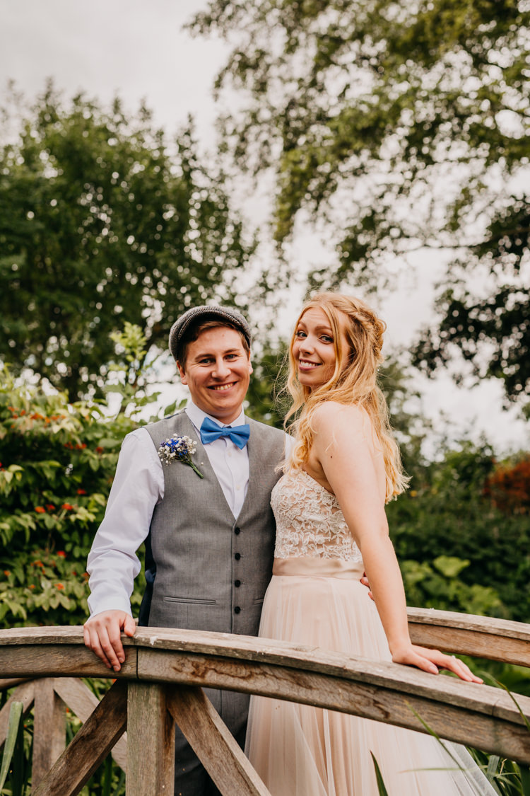 Bride Groom Smiling Photo Outdoors Field Woodland Countryside | Rustic Relaxed Cornflower Blue Barn Wedding http://www.peterhugophotography.com/