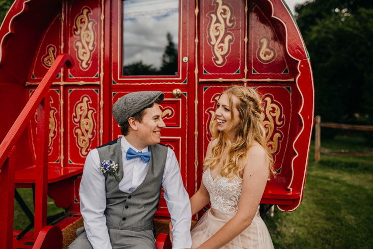 Caravan Authentic Red Outdoor Farm Field Woodland Bride Groom | Rustic Relaxed Cornflower Blue Barn Wedding http://www.peterhugophotography.com/