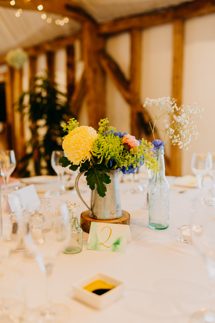 DIY Watercolor Table Numbers Yellow Blue Pink Centrepieces | Rustic Relaxed Cornflower Blue Barn Wedding http://www.peterhugophotography.com/