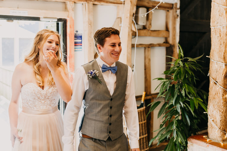 Bride Groom Reception Wedding Breakfast Informal Wooden Beams | Rustic Relaxed Cornflower Blue Barn Wedding http://www.peterhugophotography.com/