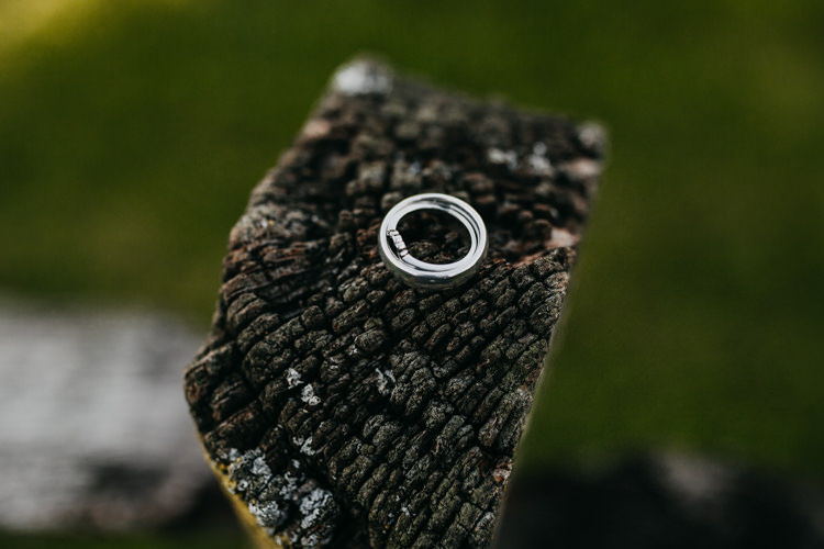 Informal Natural Rings Photo Wood Tree Garden Woodland | Rustic Relaxed Cornflower Blue Barn Wedding http://www.peterhugophotography.com/