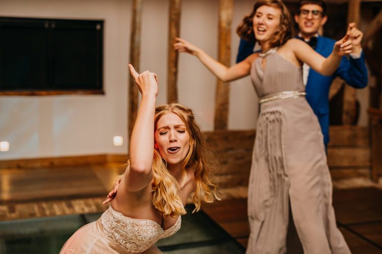 Bride Dancing Dance Floor Fun Singing Bridesmaid Evening Party | Rustic Relaxed Cornflower Blue Barn Wedding http://www.peterhugophotography.com/
