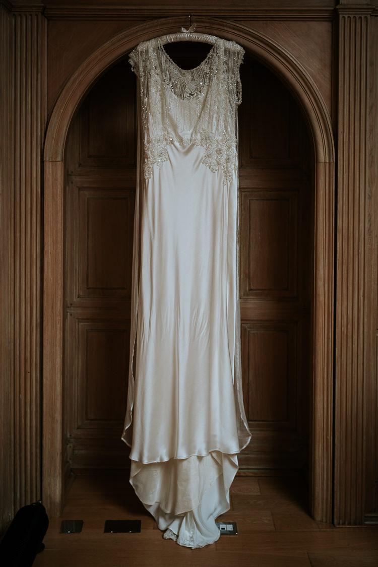 Bespoke Vintage Satin Silk Column Dress Beaded 1920s   Glitter Dinosaurs City Wedding https://struvephotography.co.uk/