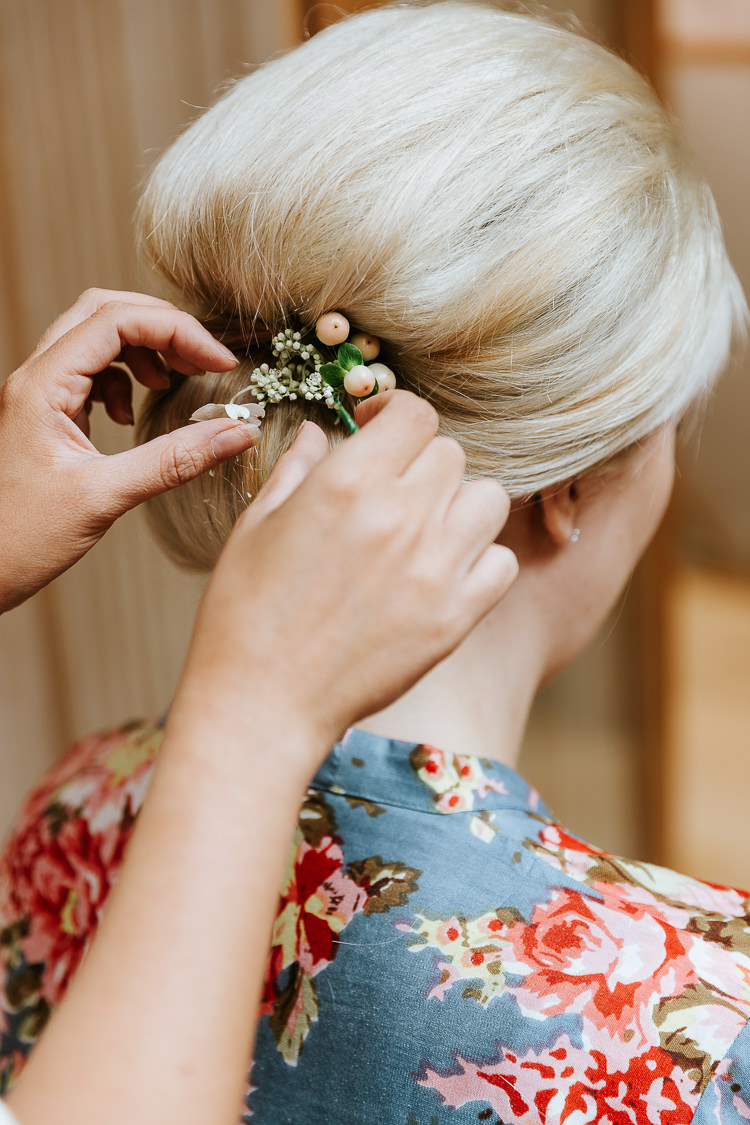 Bridesmaid Updos Fresh Flowers Pink White Hair Styling | Glitter Dinosaurs City Wedding https://struvephotography.co.uk/