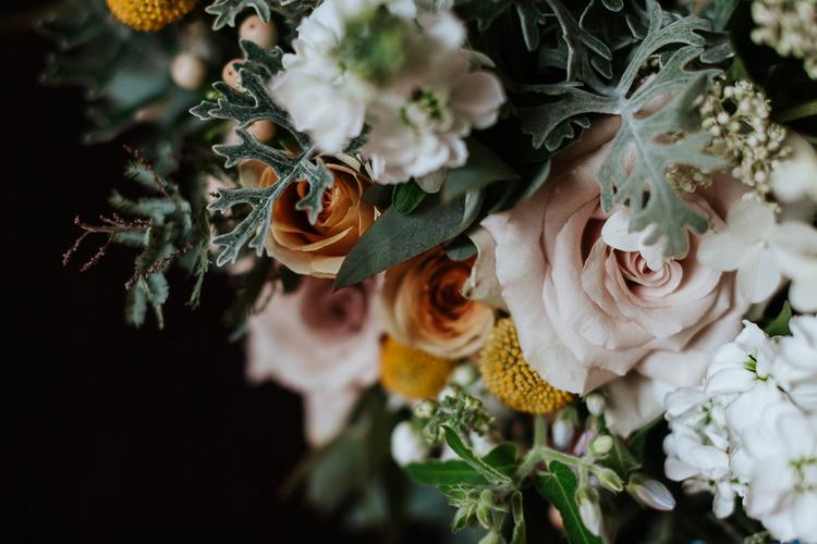Pastel Wild Flowers Table Decor Arrangement Blush Roses   Glitter Dinosaurs City Wedding https://struvephotography.co.uk/