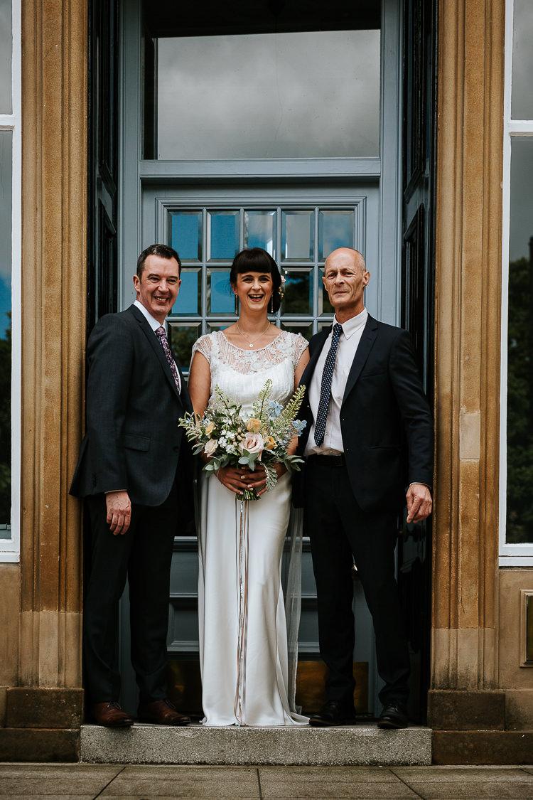 Bride Father Ceremony Photo Wild Pastel Bouquet   Glitter Dinosaurs City Wedding https://struvephotography.co.uk/