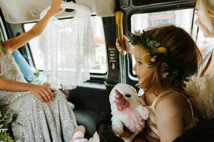 Adorable Flower Girl Unicorn Silver Sequin Dress   Glitter Dinosaurs City Wedding https://struvephotography.co.uk/