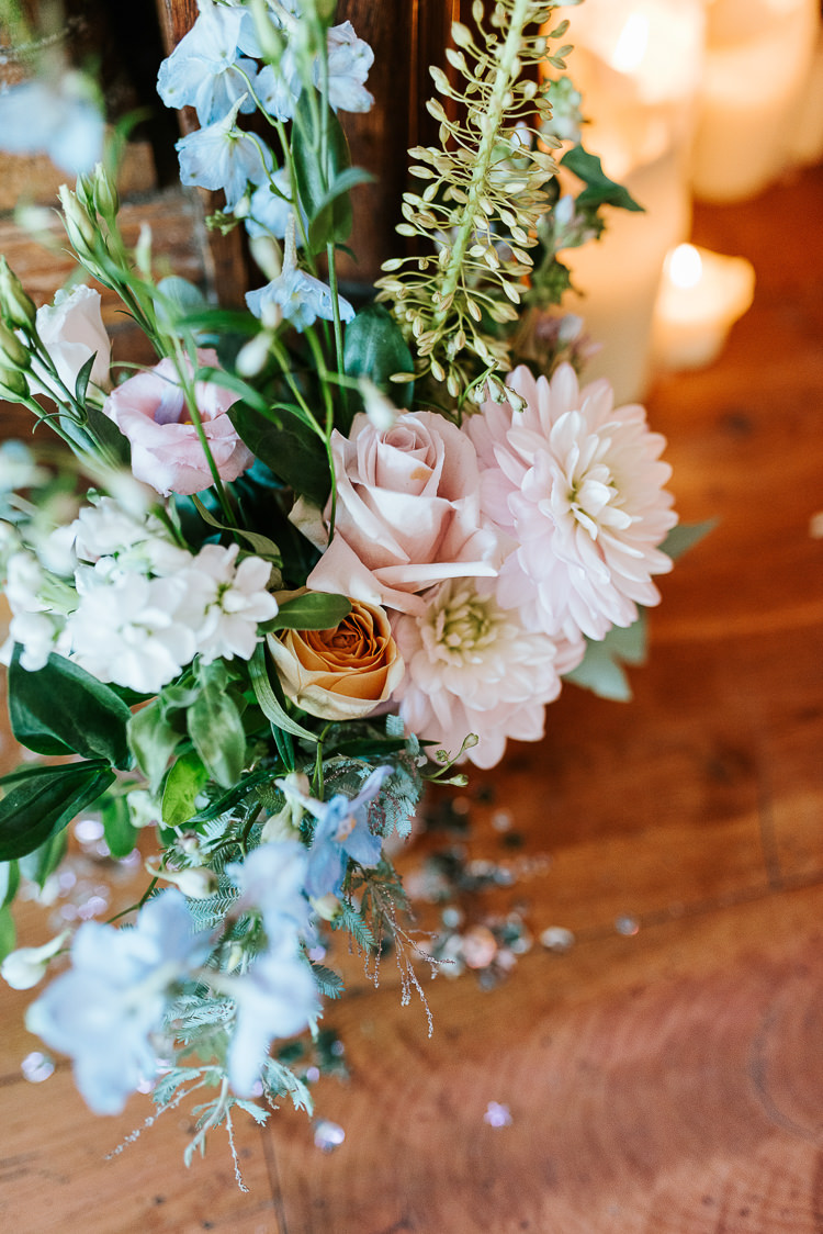 Pastel Flower Arrangements Decor Candles Romantic Decor Pink Blue   Glitter Dinosaurs City Wedding https://struvephotography.co.uk/