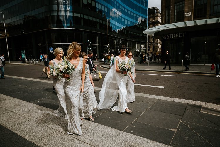 Bride Bridesmaids Street Glasgow Edinburgh Relaxed Informal Fun   Glitter Dinosaurs City Wedding https://struvephotography.co.uk/