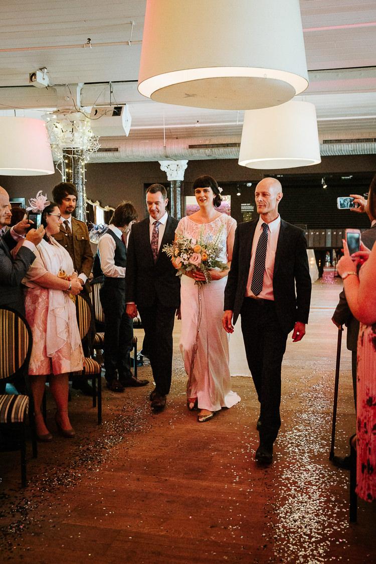 Bride Father Aisle Ceremony Glitter Decor Flat Shoes   Glitter Dinosaurs City Wedding https://struvephotography.co.uk/