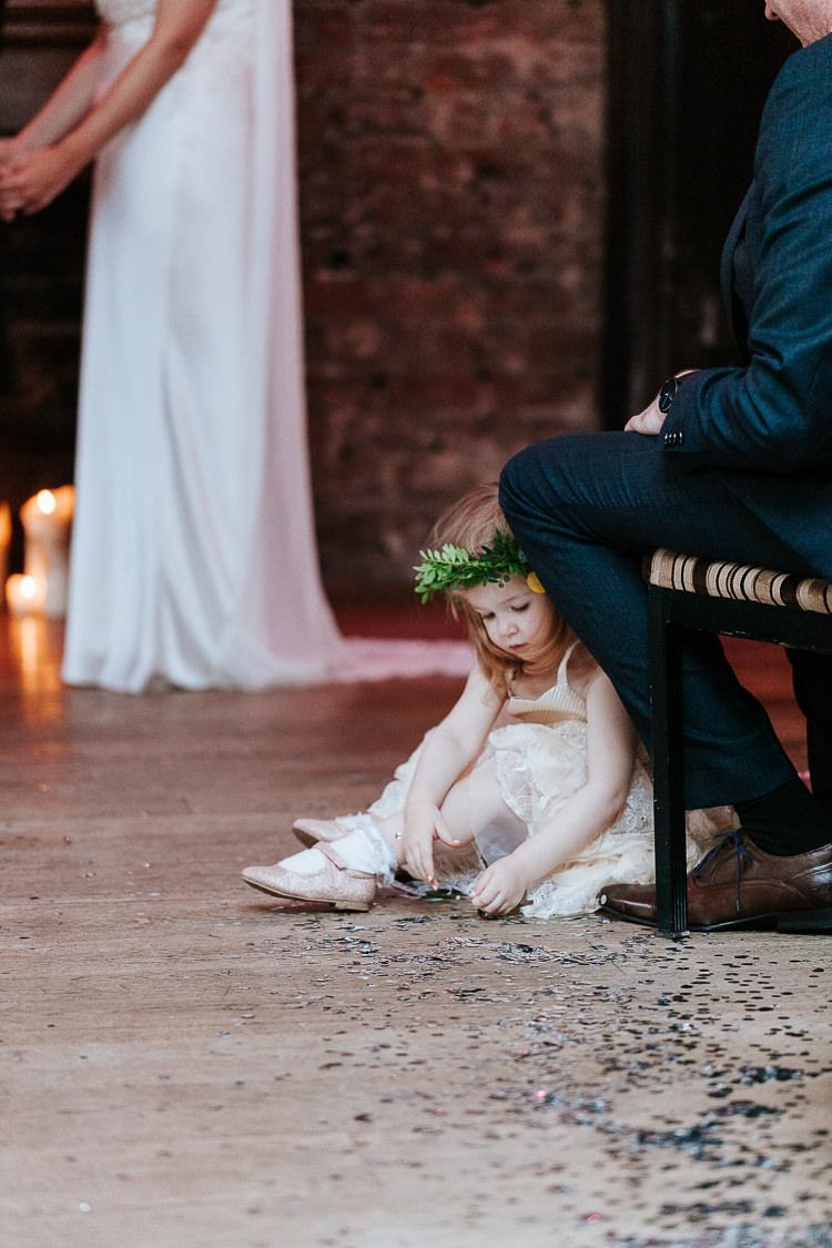 Adorable Cute Flower Girl Crown Floor Glitter Ceremony Aisle   Glitter Dinosaurs City Wedding https://struvephotography.co.uk/