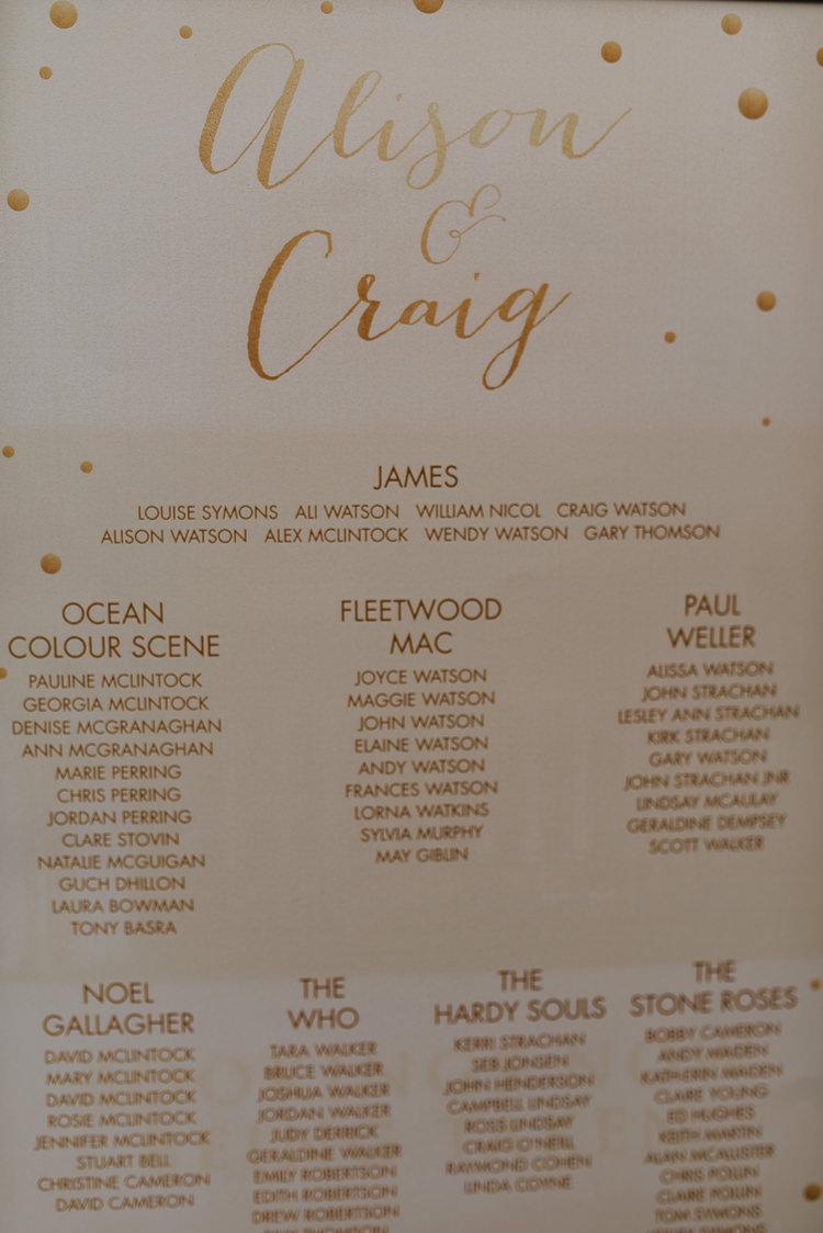 Bride Groom Gold Glitter Table Plan Chart Music Theme   Glitter Dinosaurs City Wedding https://struvephotography.co.uk/