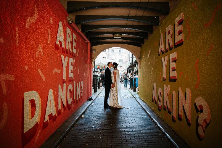 Bride Groom City Street Photography Glasgow Scotland Tunnel   Glitter Dinosaurs City Wedding https://struvephotography.co.uk/