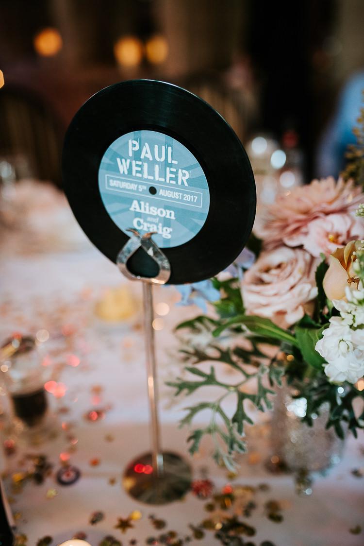 Music Record Table Name Vinyl Decor Blush Pastel Flower Centrepiece   Glitter Dinosaurs City Wedding https://struvephotography.co.uk/