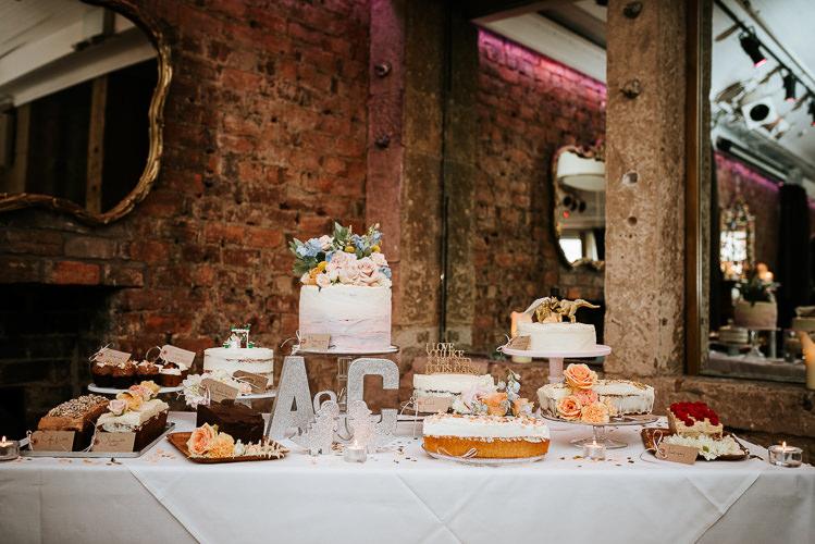 Wedding Cakes Dessert Table Glitter Dinosaurs Toppers Fun Quirky   Glitter Dinosaurs City Wedding https://struvephotography.co.uk/