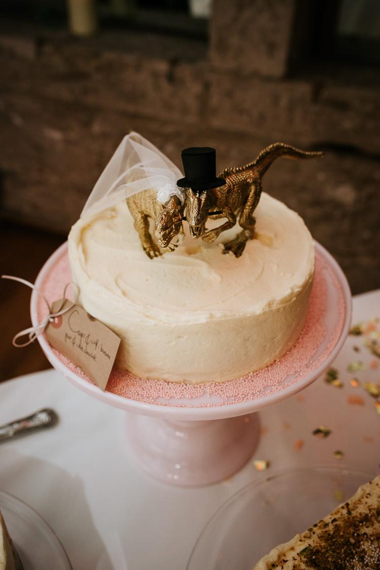 Gold Dinosaur Cake Topper Alternative Theme Quirky   Glitter Dinosaurs City Wedding https://struvephotography.co.uk/