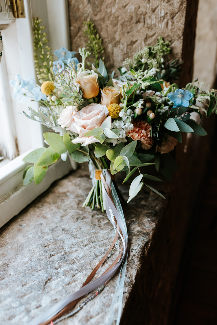 Wild Pastel Bouquet Informal Simple Natural Colourful Ribbon | Glitter Dinosaurs City Wedding https://struvephotography.co.uk/
