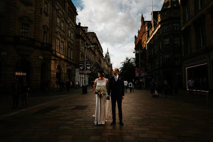 Dark Bride Groom Street City Photography Glasgow Scotland   Glitter Dinosaurs City Wedding https://struvephotography.co.uk/
