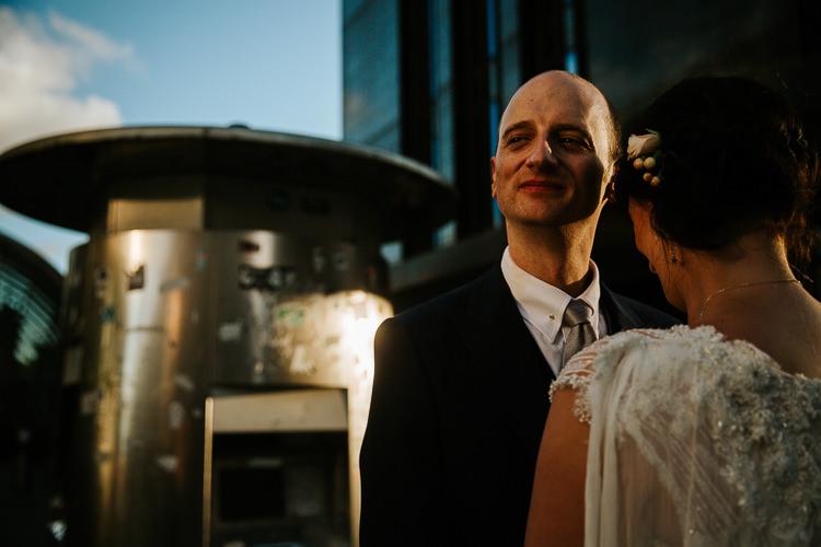 Bride Groom Walk City Street Photography Glasgow Scotland   Glitter Dinosaurs City Wedding https://struvephotography.co.uk/