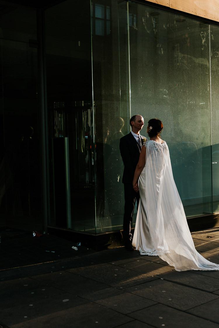 Glasgow Scotland Street Bride Groom Photos Cape Dress   Glitter Dinosaurs City Wedding https://struvephotography.co.uk/