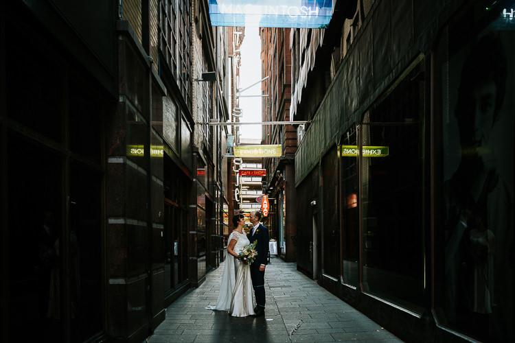Bride Groom Walk City Street Photography Glasgow Scotland Alley   Glitter Dinosaurs City Wedding https://struvephotography.co.uk/