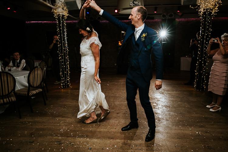 Bride Groom First Dance Urban Quirky Fun Glitter Fairy Lights   Glitter Dinosaurs City Wedding https://struvephotography.co.uk/