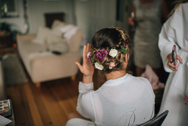 Flowers Style Up Do Plaits Briad Flowers Festival Bohemian Glamping Wedding https://theshannons.photography/