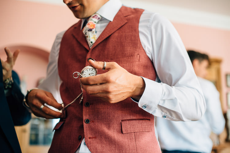Red Waistcoat Groom Floral Tie Festival Bohemian Glamping Wedding https://theshannons.photography/