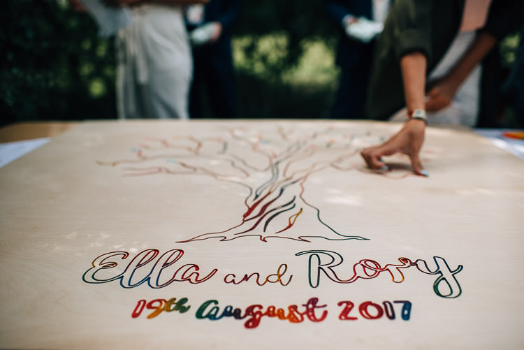 Finger Print Tree Guest Book Engraved Wooden Rainbow Festival Bohemian Glamping Wedding https://theshannons.photography/
