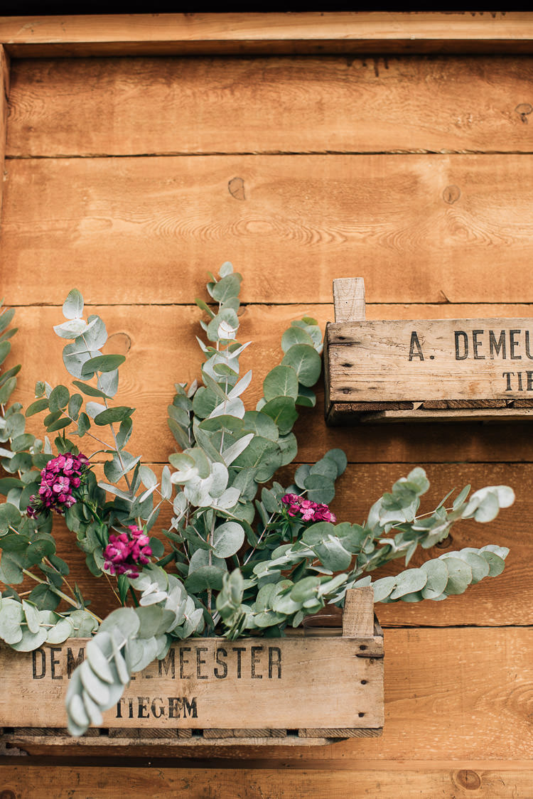Crate Wooden Boc Flowers Eucalyptus Festival Bohemian Glamping Wedding https://theshannons.photography/