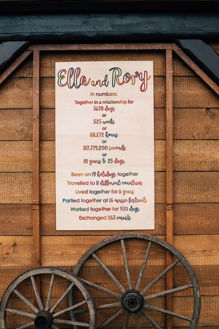 Engraved Wooden Sign Rainbow Signage Story Festival Bohemian Glamping Wedding https://theshannons.photography/