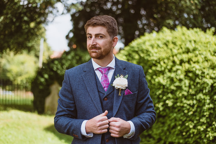 Groom Style Blue Tweed Suit Pink Tie Pocket Square Three Piece Waistcoat Colourful Creative Vintage Railway Wedding http://joemallenphotography.co.uk/