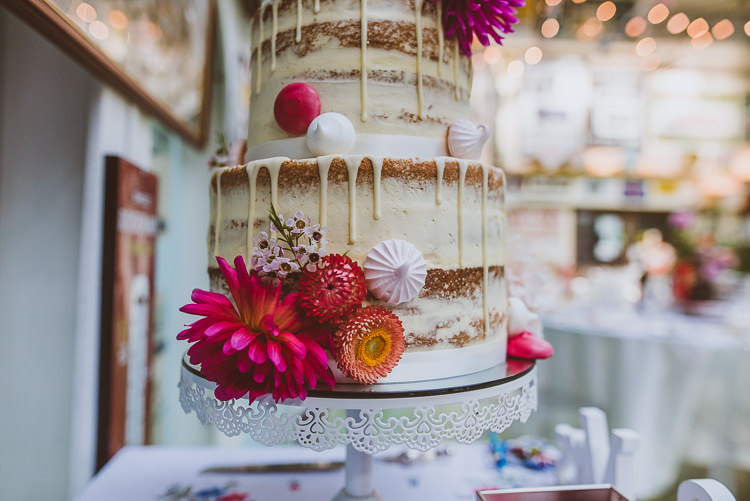 Semi Naked Cake Drip Flower Floral Meringue Kiss Stand Colourful Creative Vintage Railway Wedding http://joemallenphotography.co.uk/