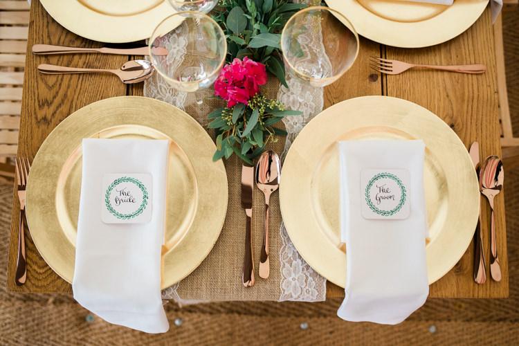Gold Plates Cutlery Outdoorsy Late Summer Marquee Wedding Ideas http://www.esmefletcher.com/