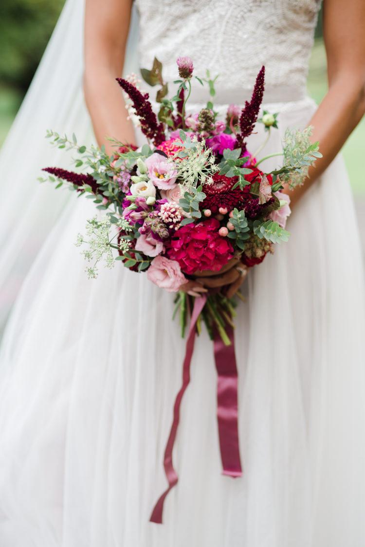 Red Berry Plum Flowers Bouquet Bride Bridal Outdoorsy Late Summer Marquee Wedding Ideas http://www.esmefletcher.com/