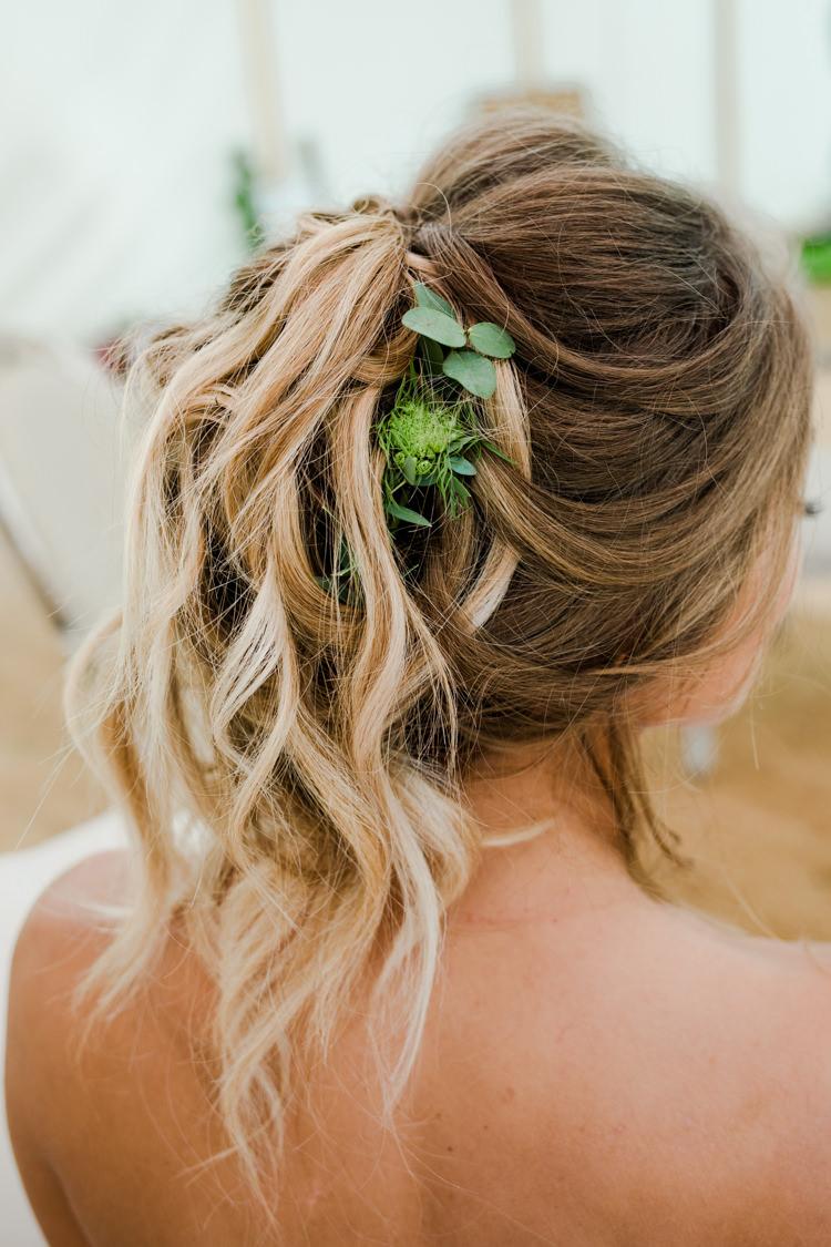 Hair Style Bride Bridal Rustic Long Waves Outdoorsy Late Summer Marquee Wedding Ideas http://www.esmefletcher.com/