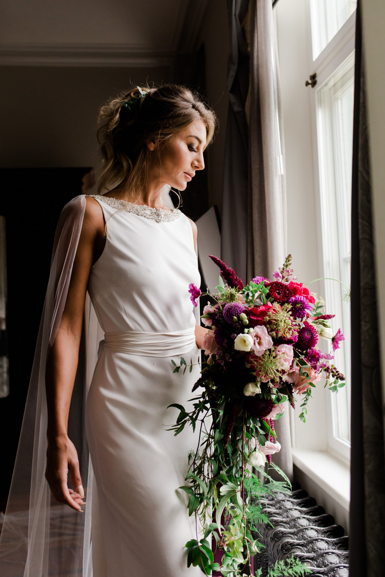High Neck Dress Gown Bride Bridal Outdoorsy Late Summer Marquee Wedding Ideas http://www.esmefletcher.com/