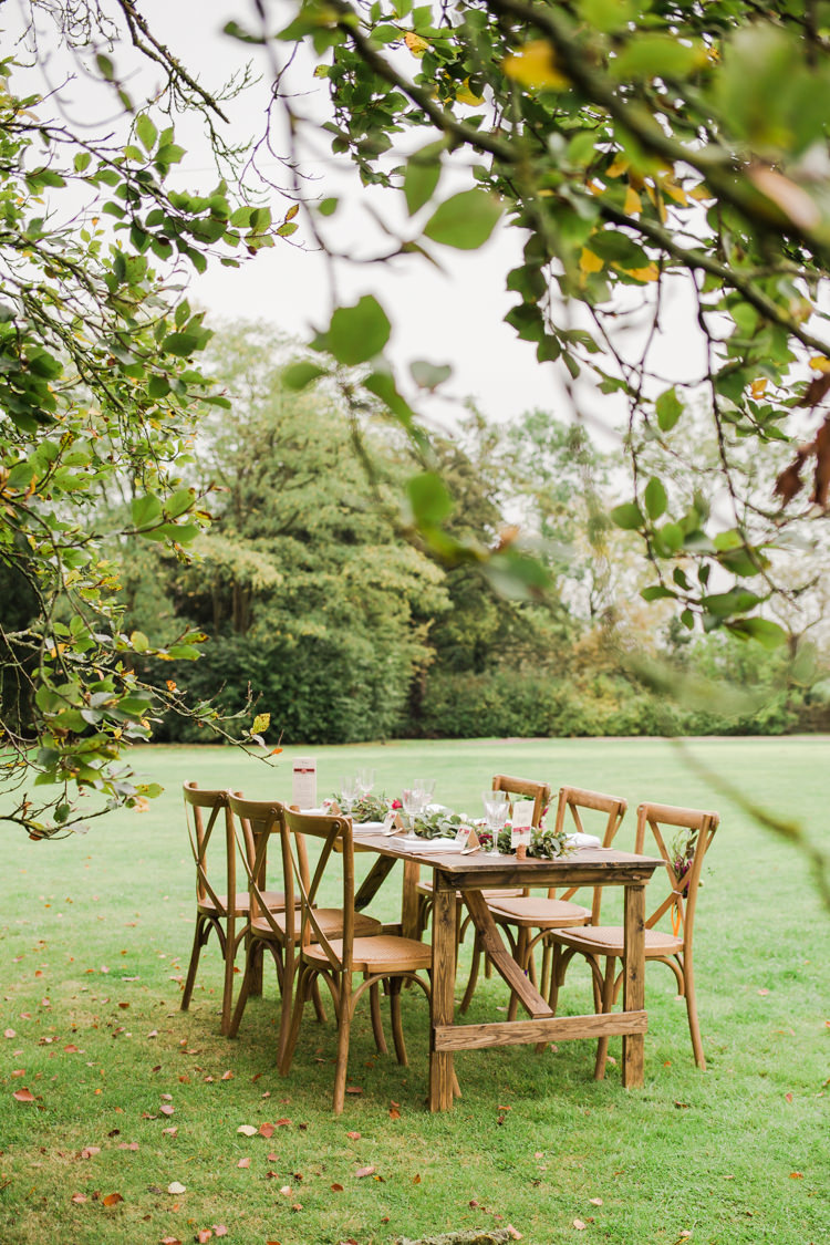 Table Scape Wooden Furniture Outdoorsy Late Summer Marquee Wedding Ideas http://www.esmefletcher.com/