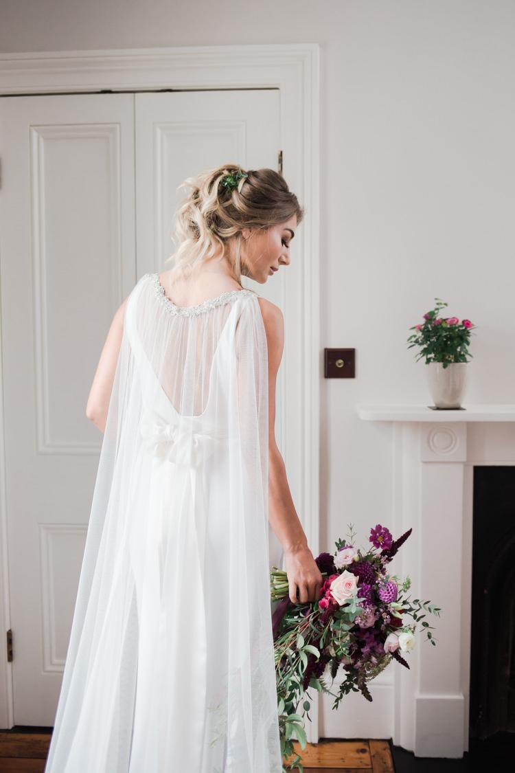 Cape Veil Dress Gown Bride Bridal Outdoorsy Late Summer Marquee Wedding Ideas http://www.esmefletcher.com/