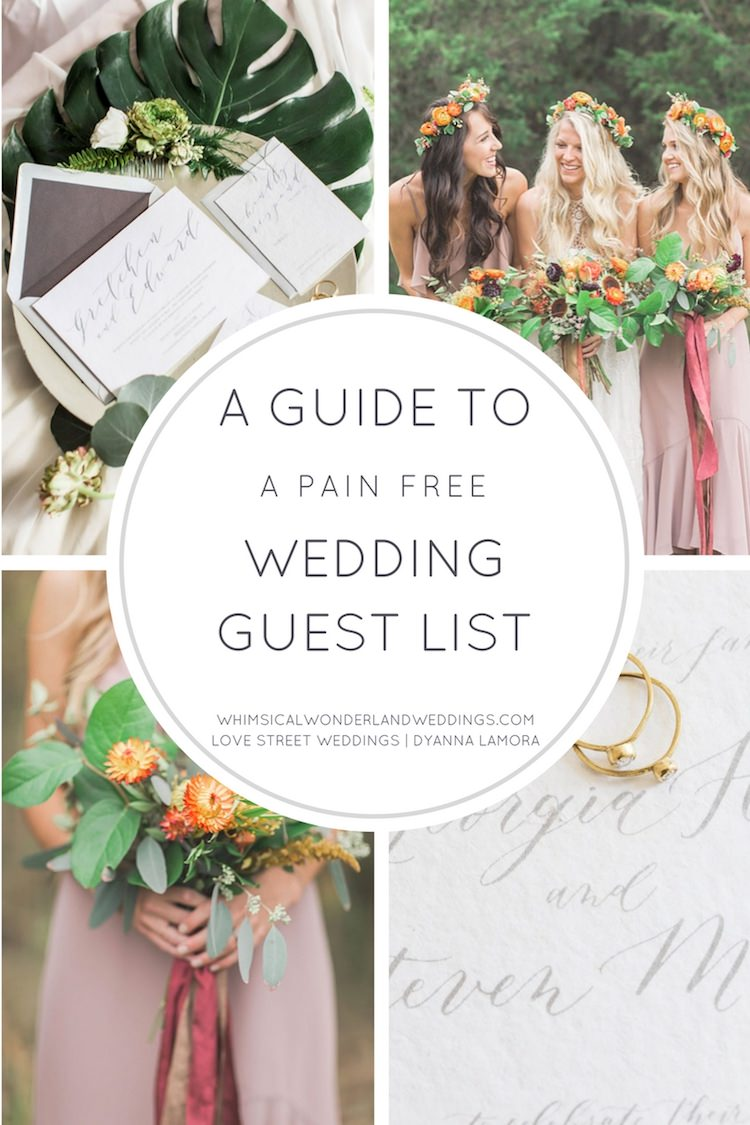 a guide to a pain free wedding guest list whimsical wonderland