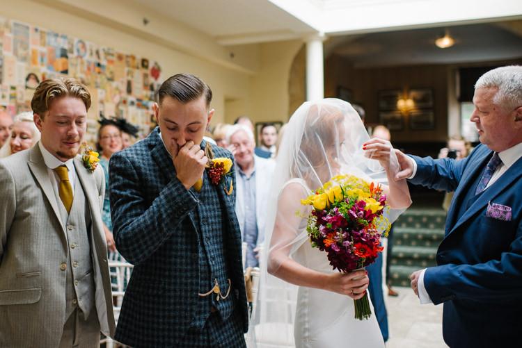 Groom Style Harris Tweed Three Piece Waistcoat Blue Mustard Bride Bridal Ghost Dress Gown Veil Silk Homemade Street Party Back Garden Wedding http://www.foxmoonphotography.com/